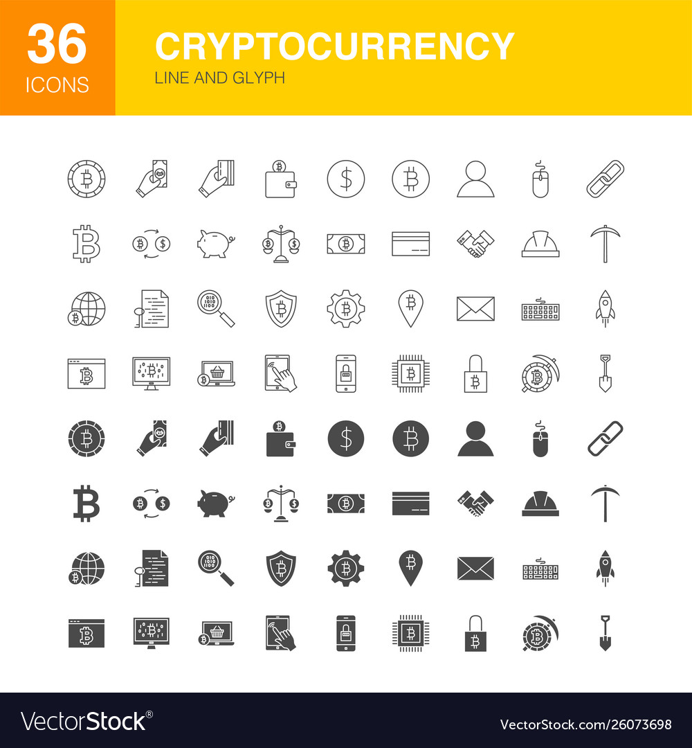 Cryptocurrency line web glyph icons