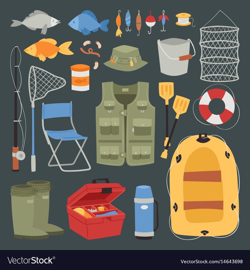 Fishing outdoor vacation fun activity icons set