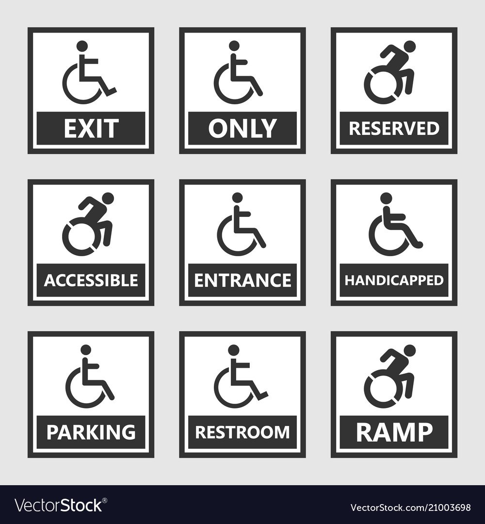 Handicap signs wc and parking icons disabled