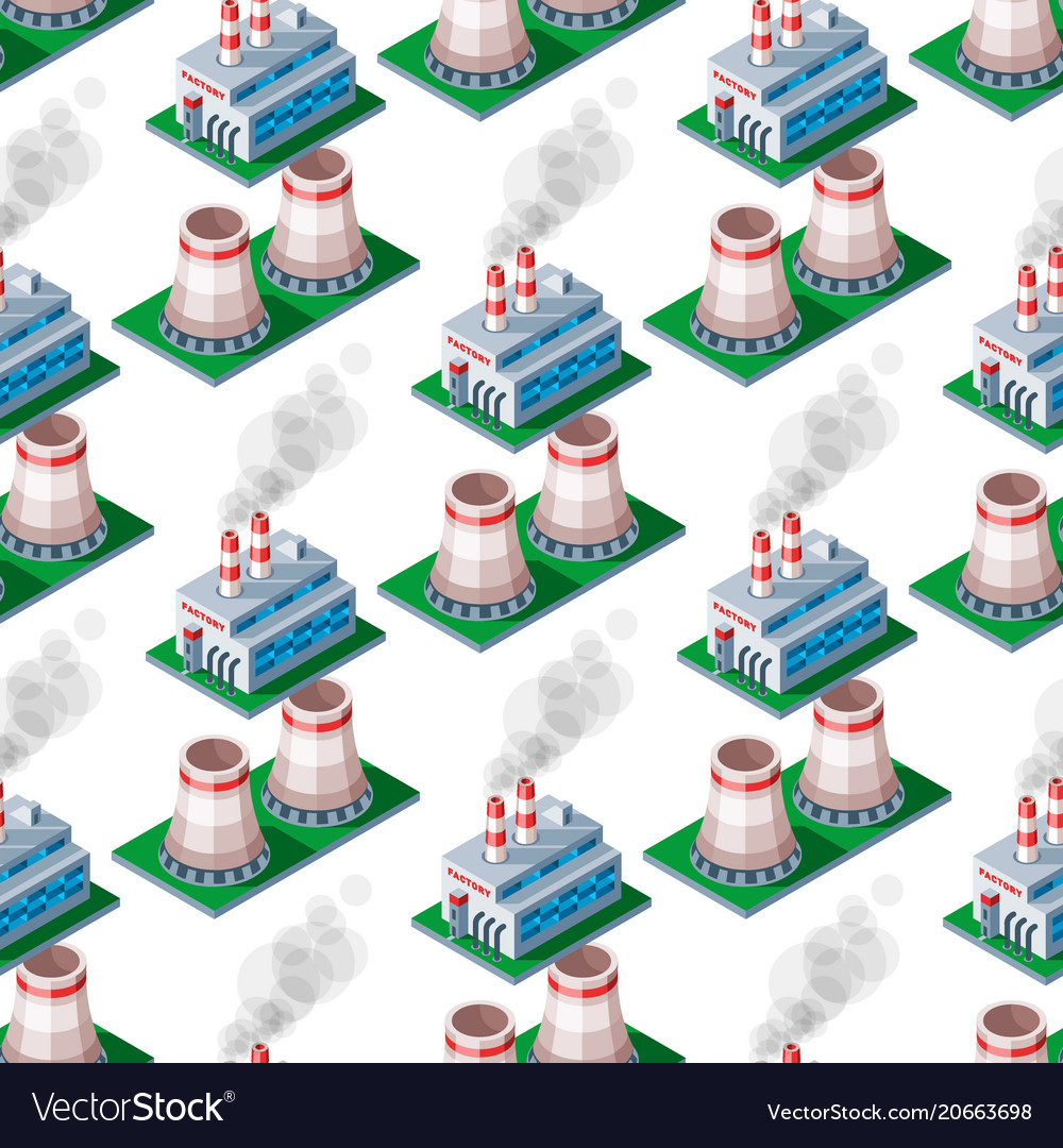 Isometric factory building seamless pattern