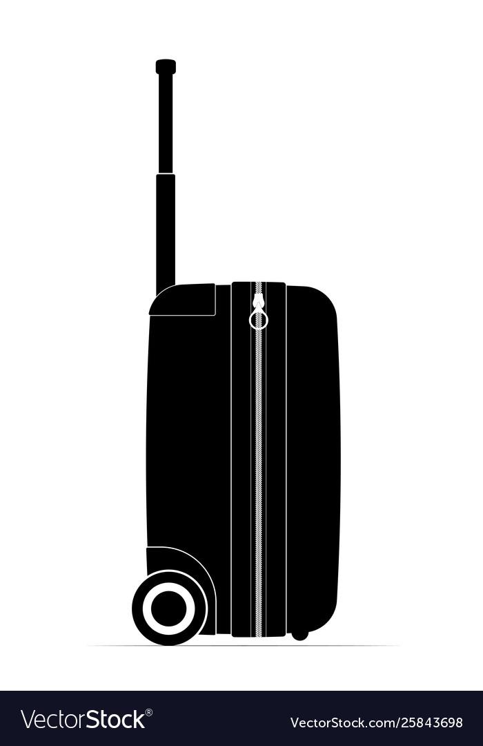 Profile black travel suitcase castors and handle