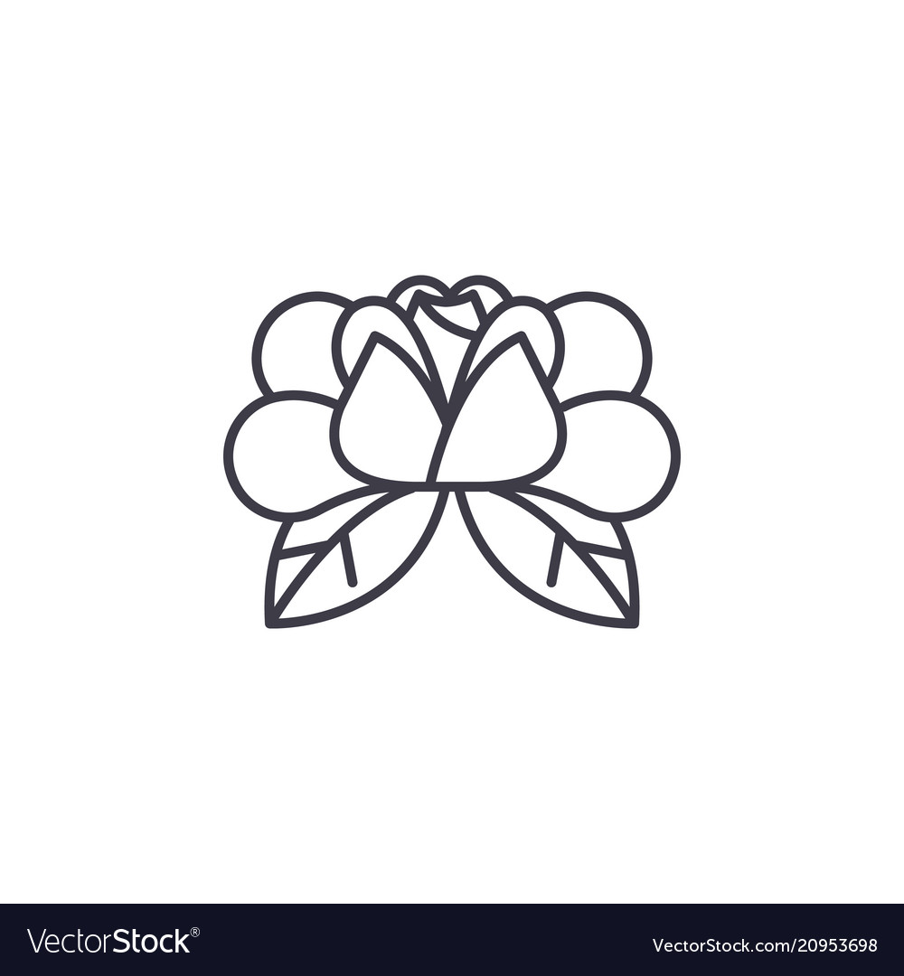 Water lily line icon water vector image