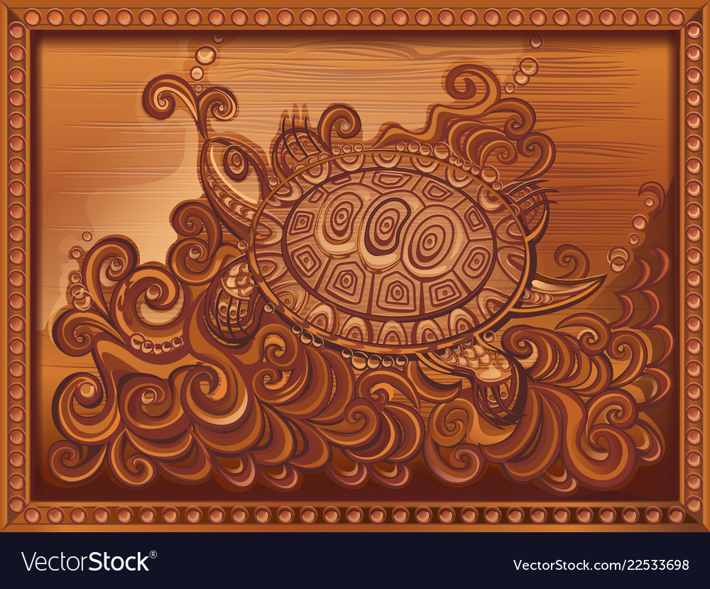 Woodcarving turtle carved on board vector
