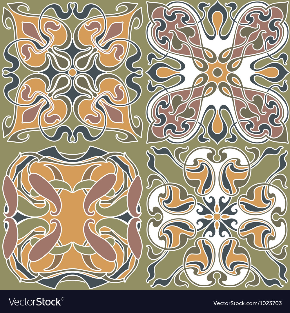 4 Art Nouveau Wallpapers Royalty Free Vector Image