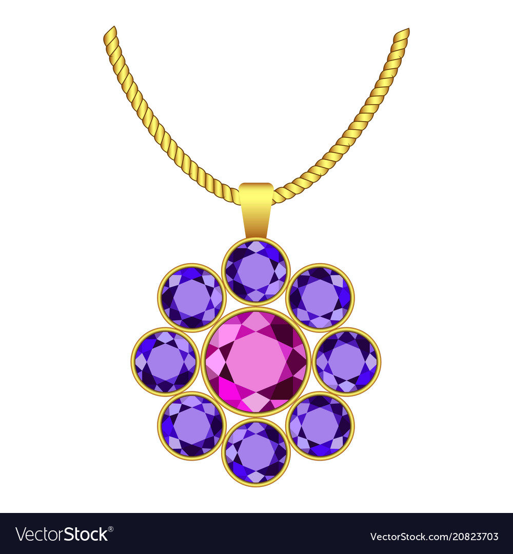 Amethyst flower jewelry icon realistic style