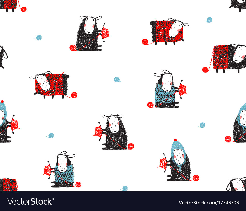 Animal sheep funny pattern cartoon background