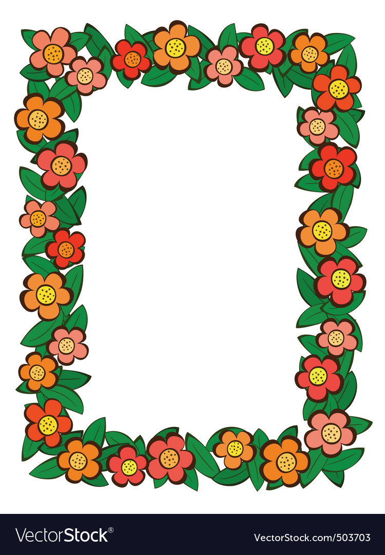 Cartoon flower frame Royalty Free Vector Image