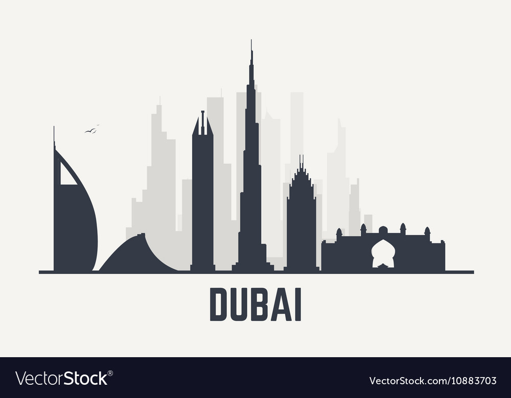 Dubai black view vector