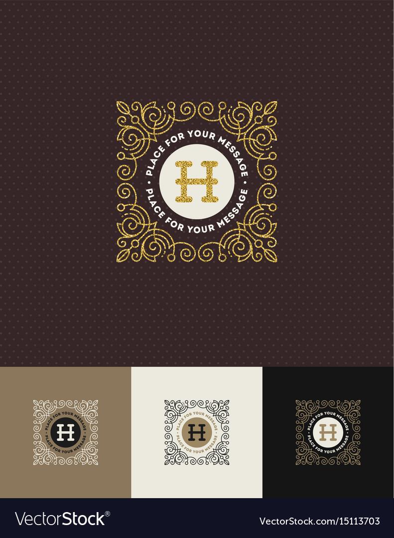 Flourishes glitter gold monogram logo
