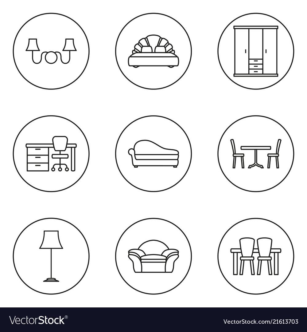 Furniture line icon set