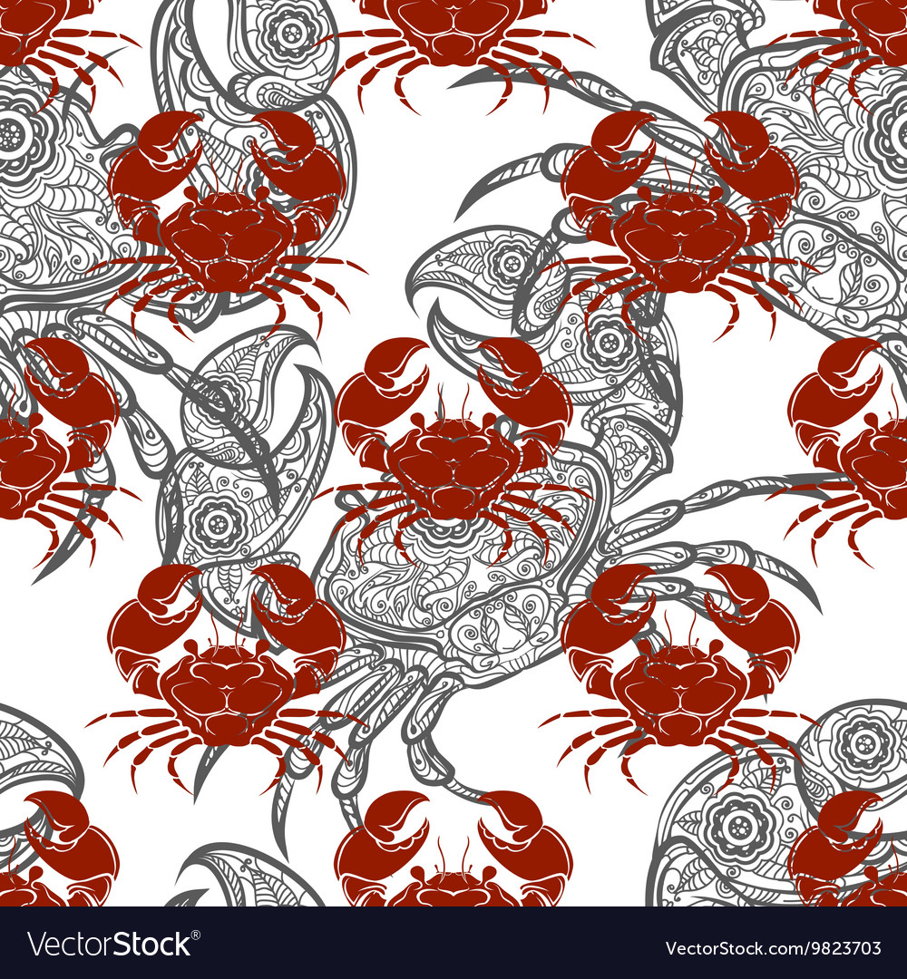 Grey and red crabs seamless pattern