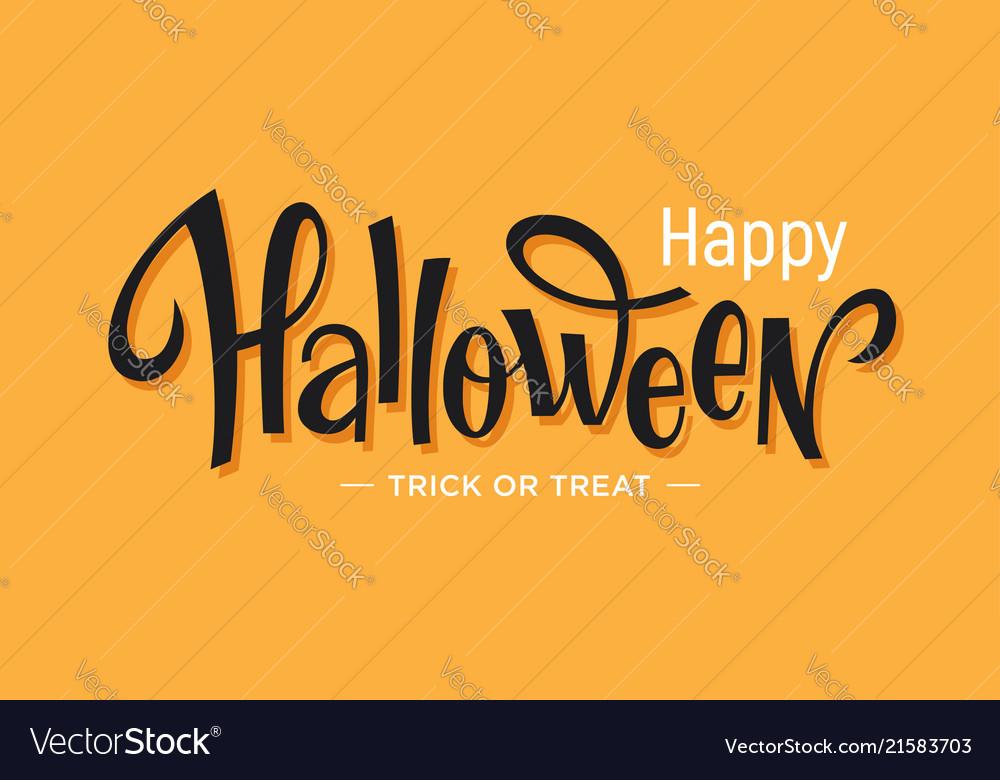 Happy halloween lettering on orange background