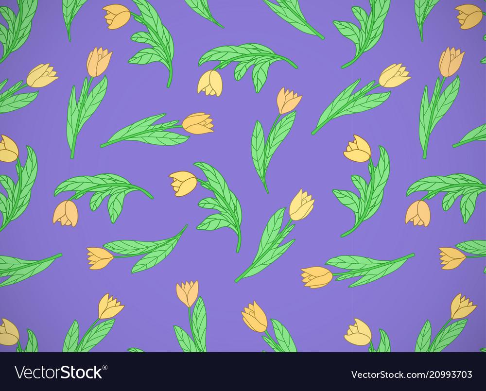 Horizontal Card With Cute Cartoon Yellow Flowers Vector Image