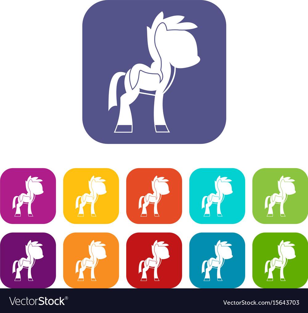 Little pony icons set flat vector image