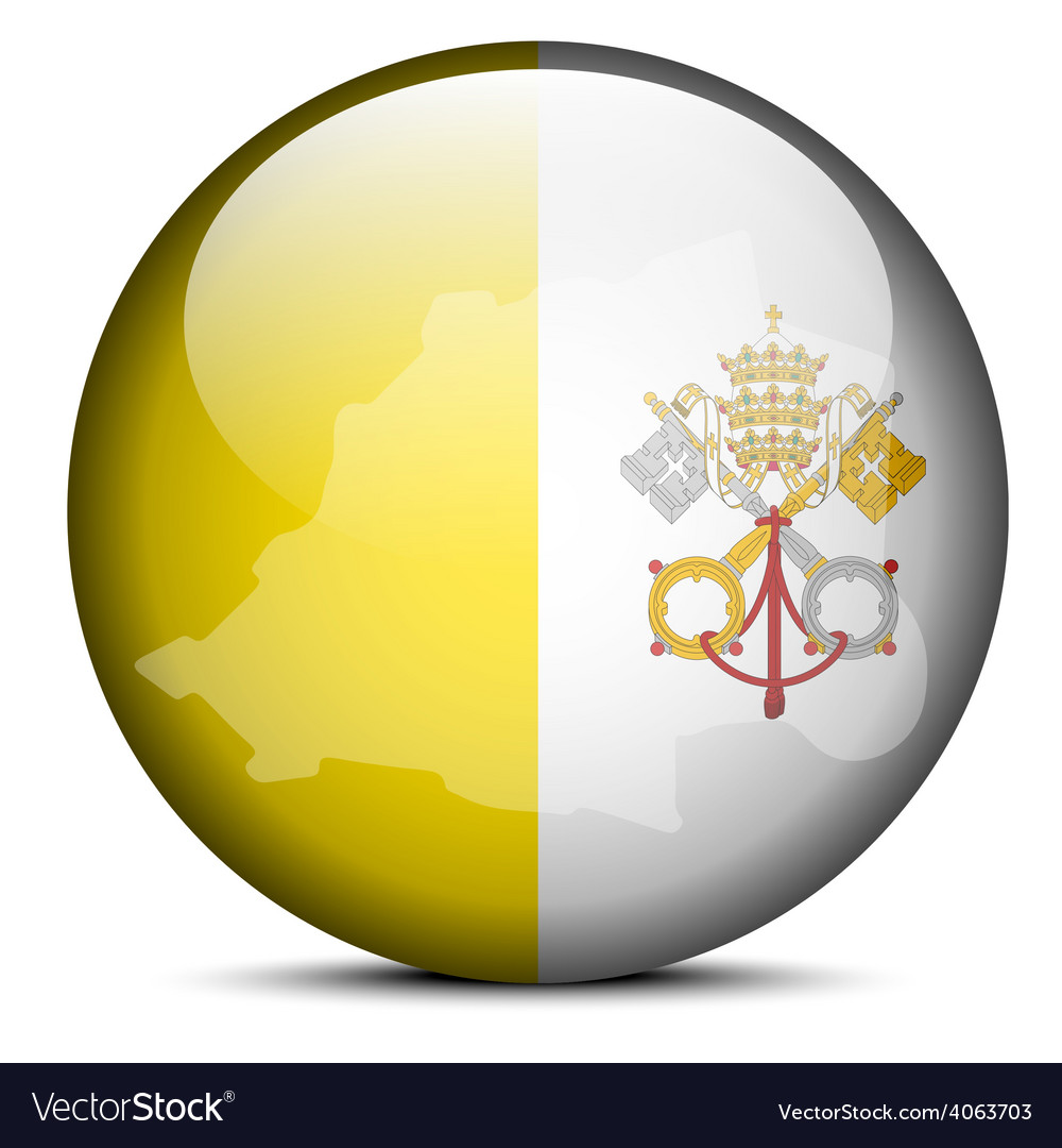 Map on flag button of Vatican City State Holy See