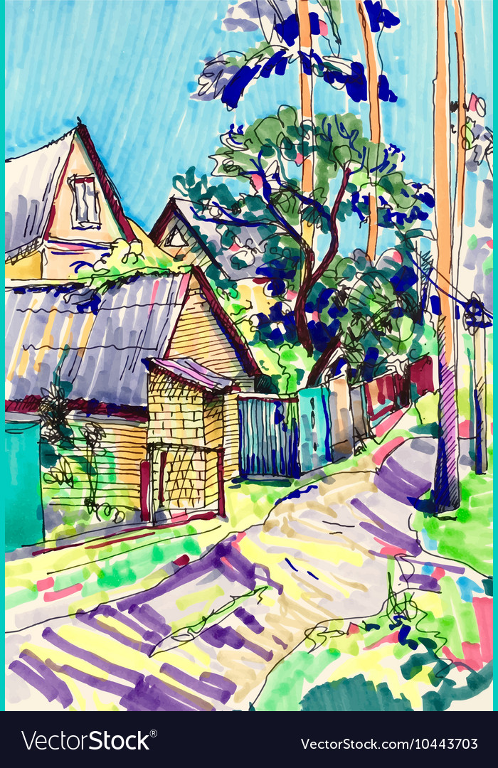 Marker sketch painting of rural landscape with vector image