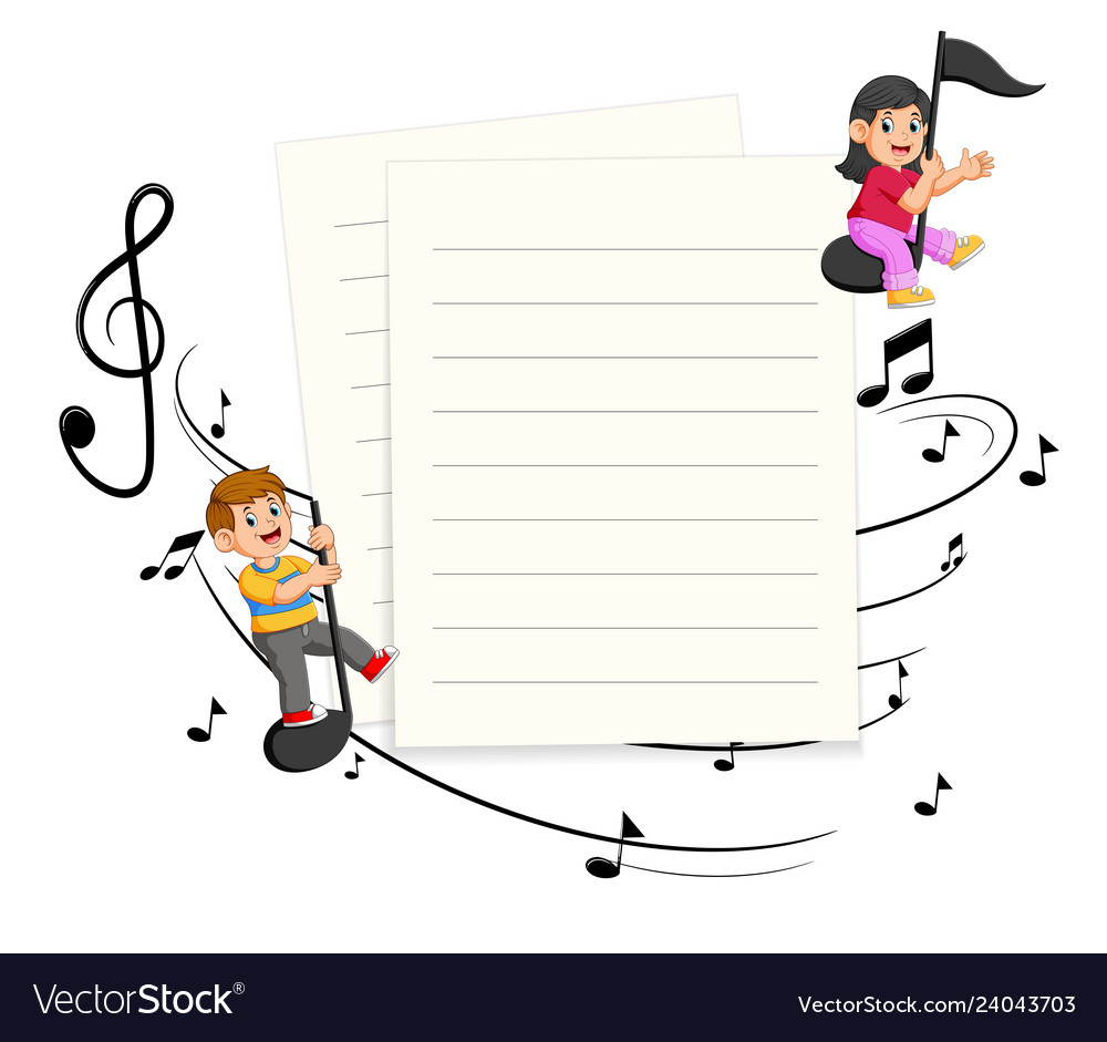 Two kids riding music notes with paper blank back vector image