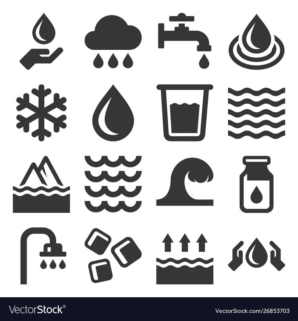 Water icons set on white background
