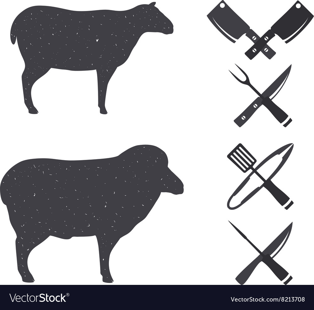 Black silhouettes of a sheep and a ram