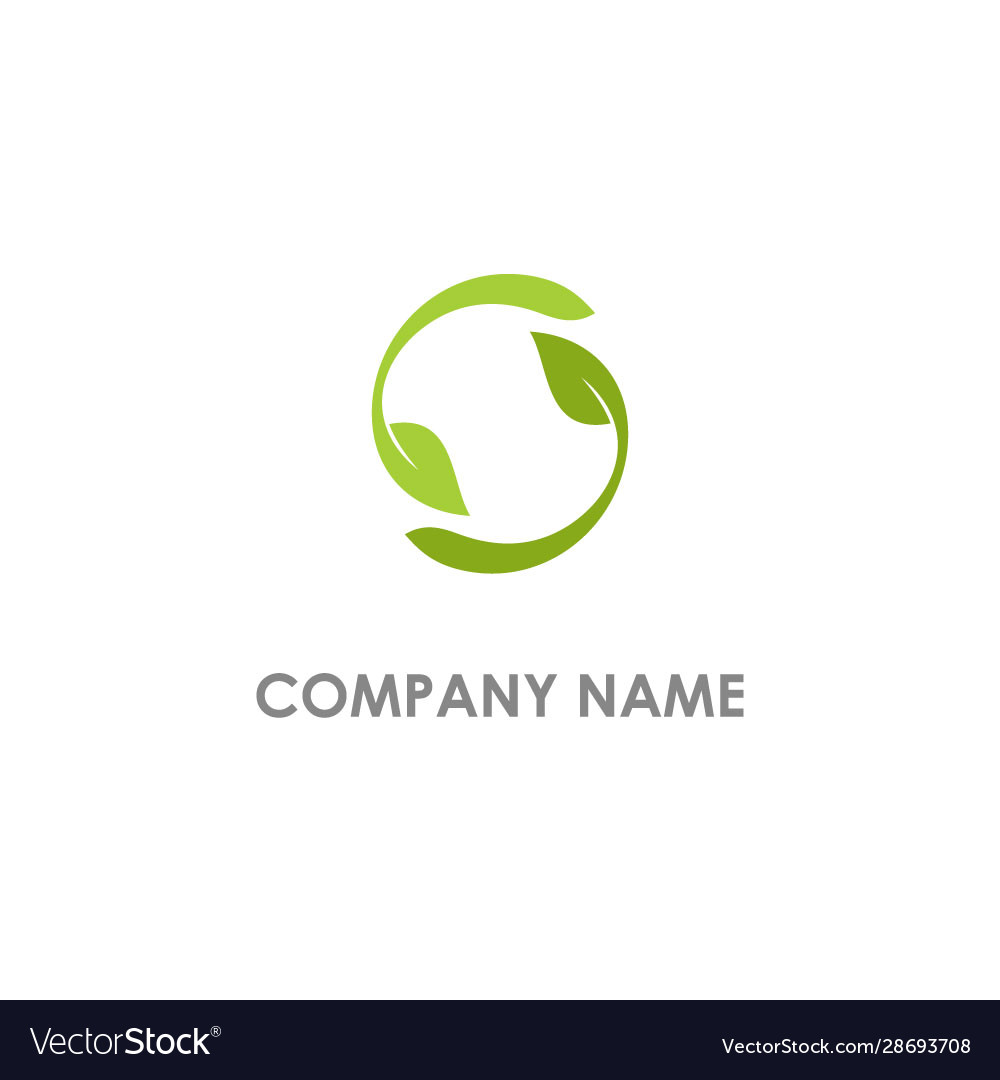Circle leaf organic nature logo vector