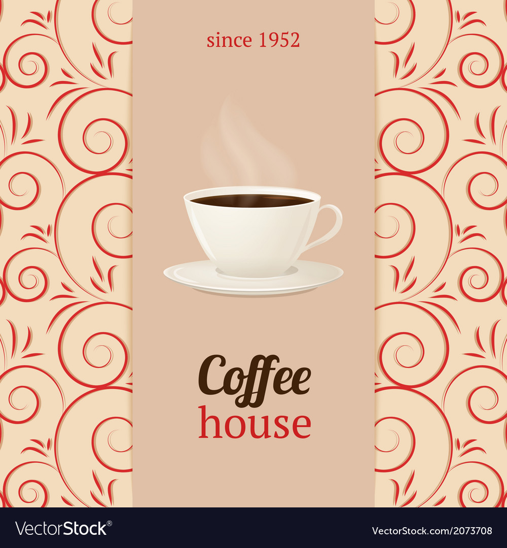 Coffee house menu with cup hot drink