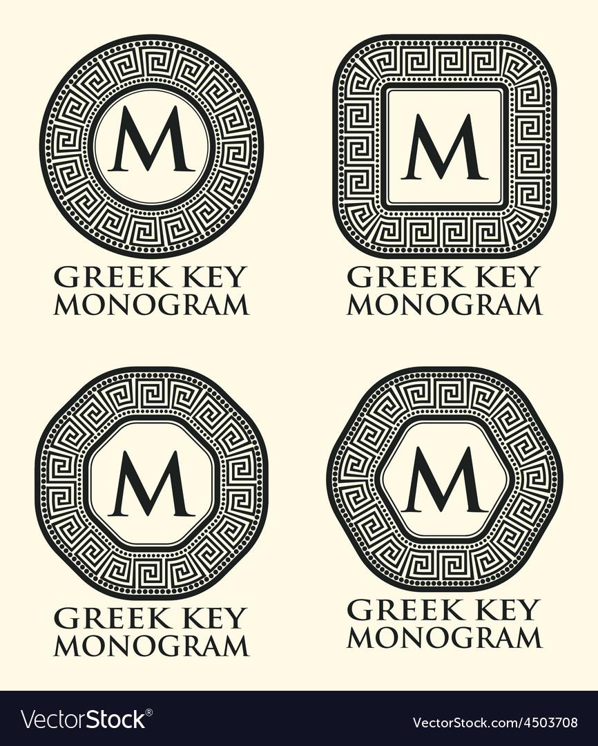 Greek Key Ornament Monogram Set Royalty Free Vector Image