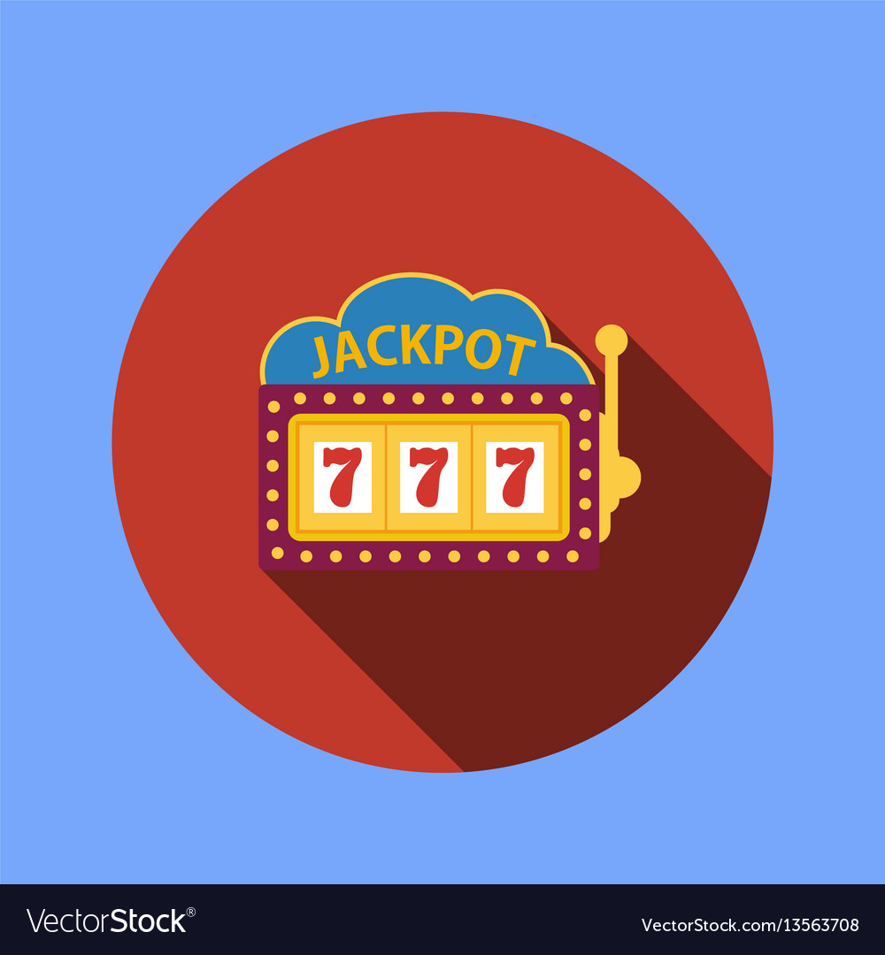 Jackpot on a slot machine flat icon