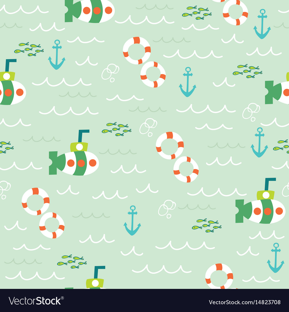 Nautical sea seamless pattern vector image