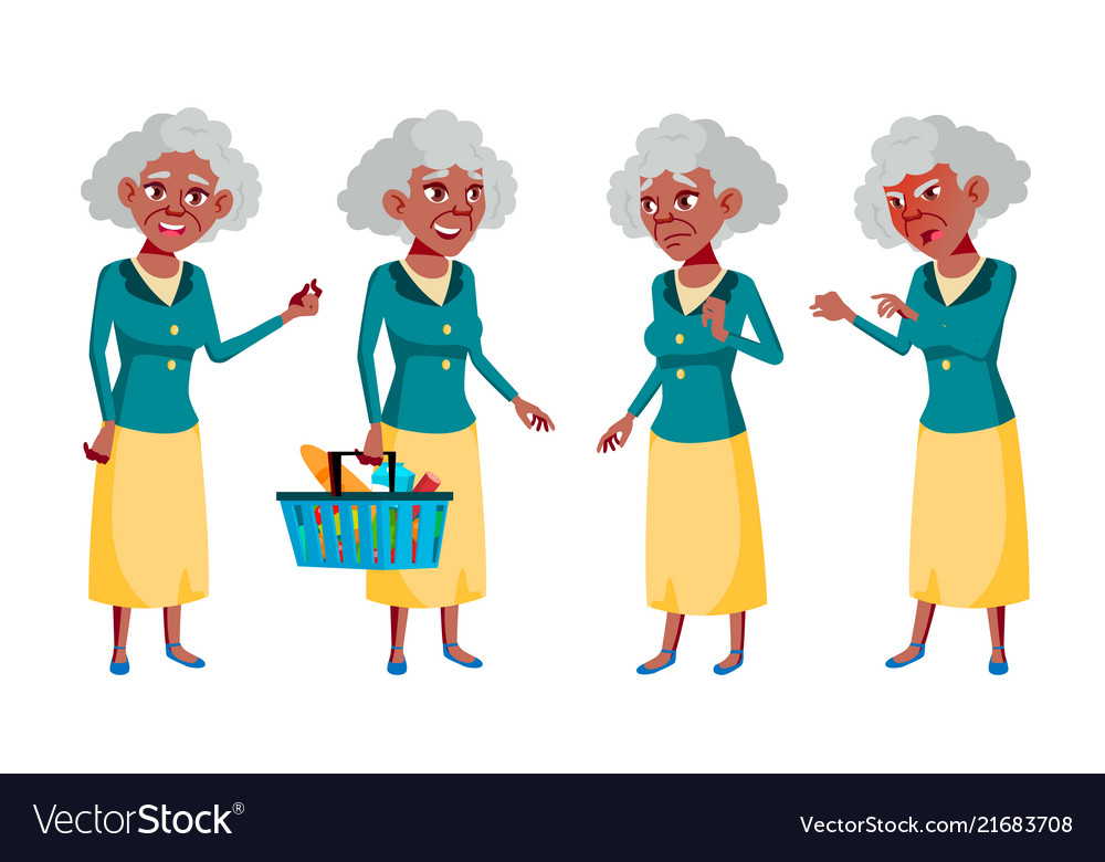 Old woman poses set elderly people black