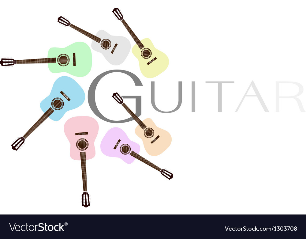 Set of Colorful Classical Guitars