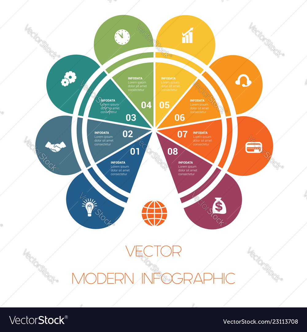 Template of colorful semicircle for infographics
