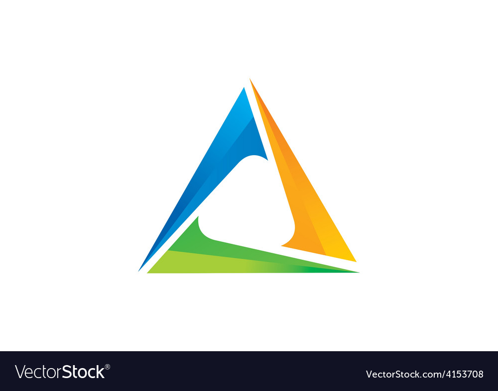 Triangle 3D abstract color logo Royalty Free Vector Image