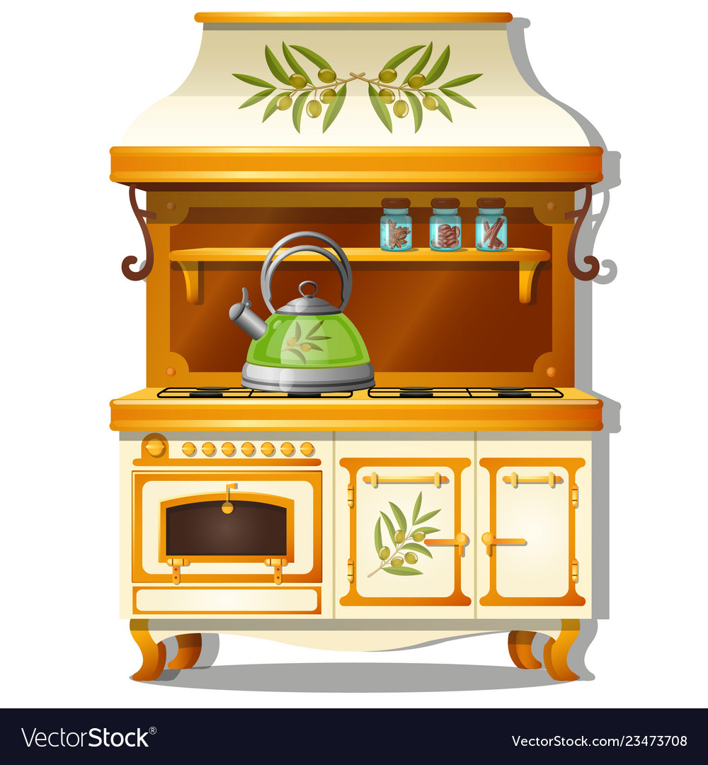 Wooden kitchen set with a gas stove and a shelf