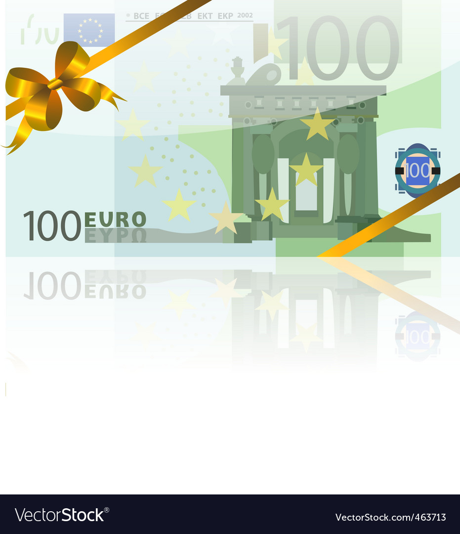 100 euro and gold bow
