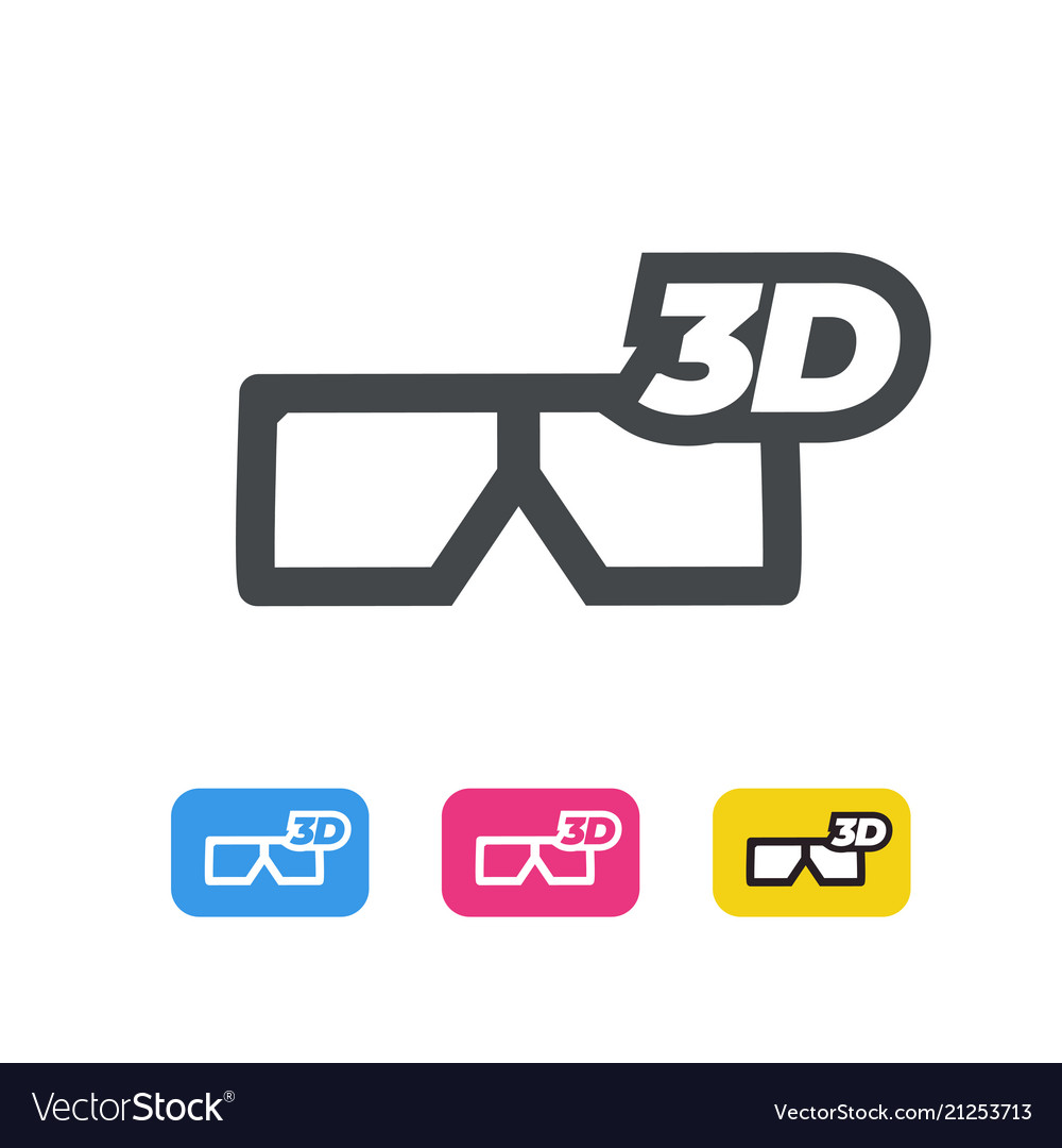 3d movie glasses line icon flat design