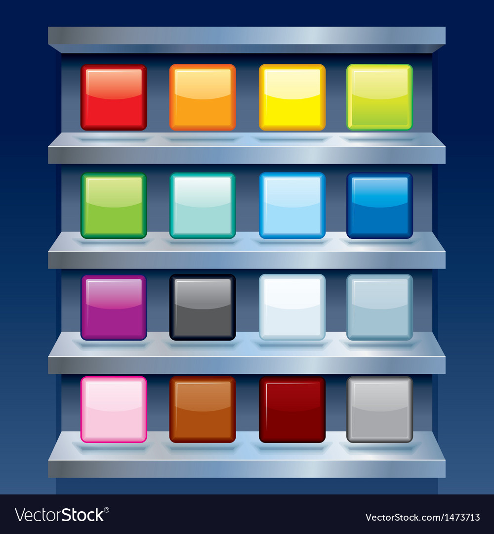 Blank Colorful Apps Icons on Metal Shelfs