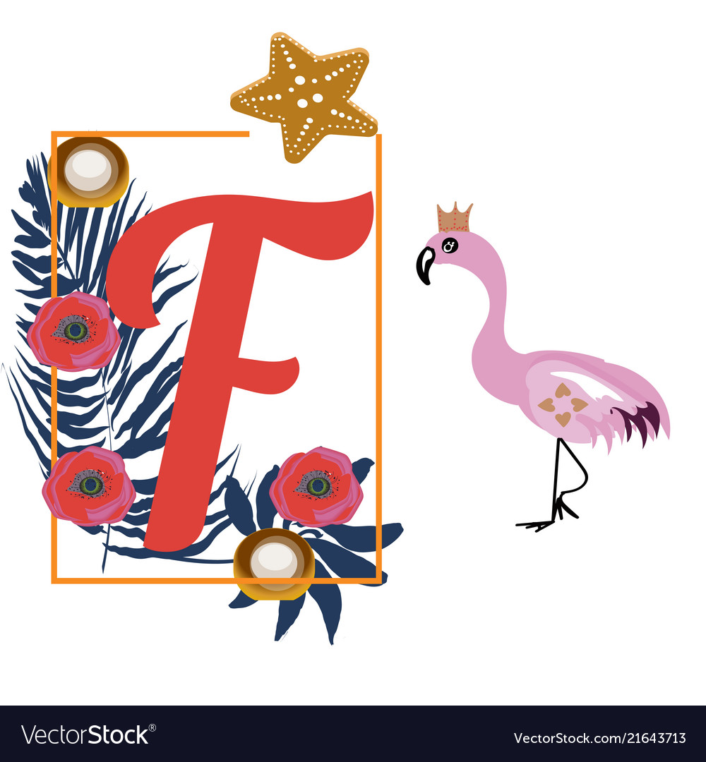 Cartoon flamingo and letter f tropical decoration