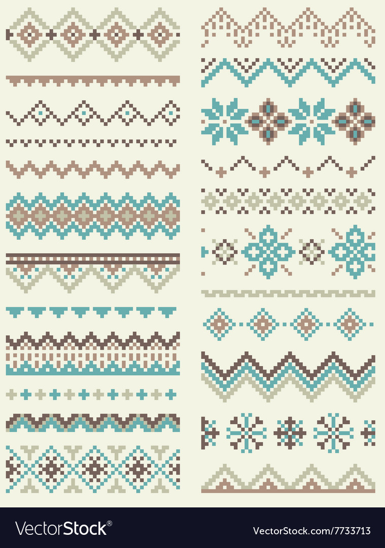Collection of pixel retro brush templates