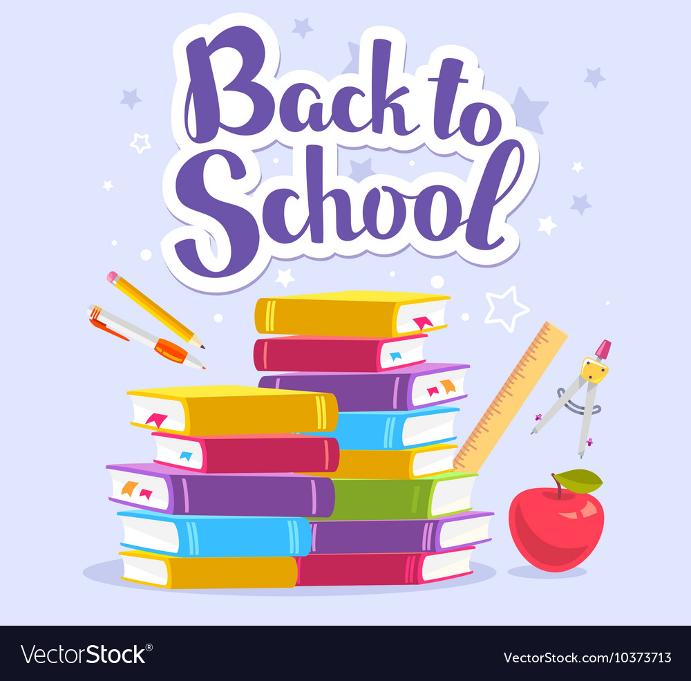 Colorful of pile of books apple school sta vector image
