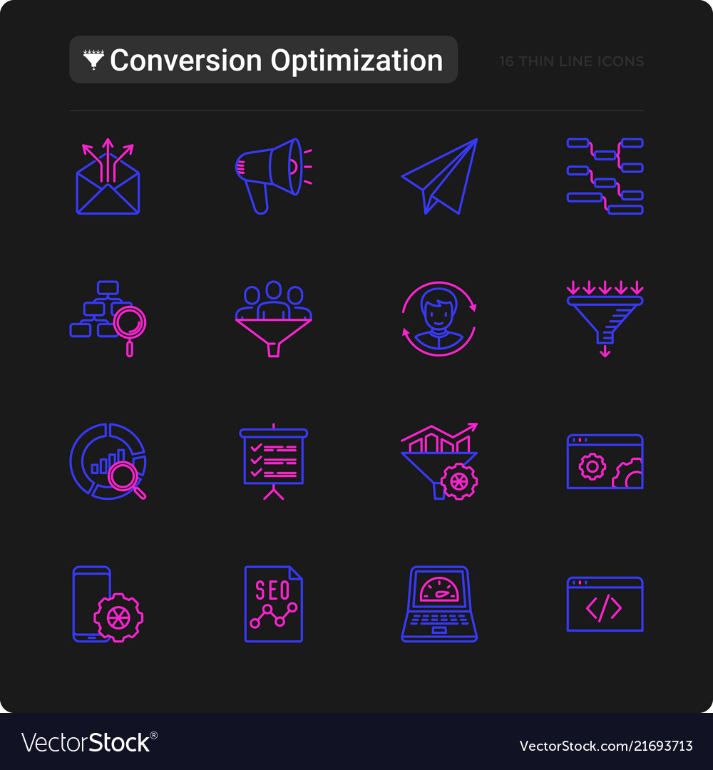 Conversion optimization thin line icons set vector