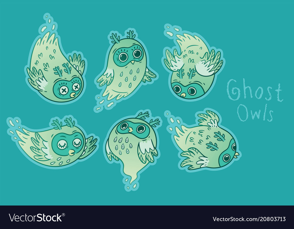 Cute ghost owls set in green colors