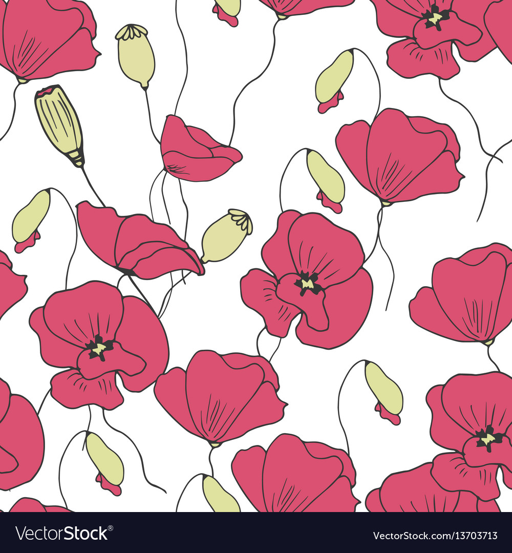 Floral poppies seamless pattern