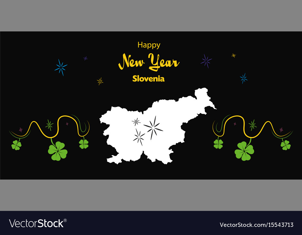 happy new year theme with map of slovenia vector image
