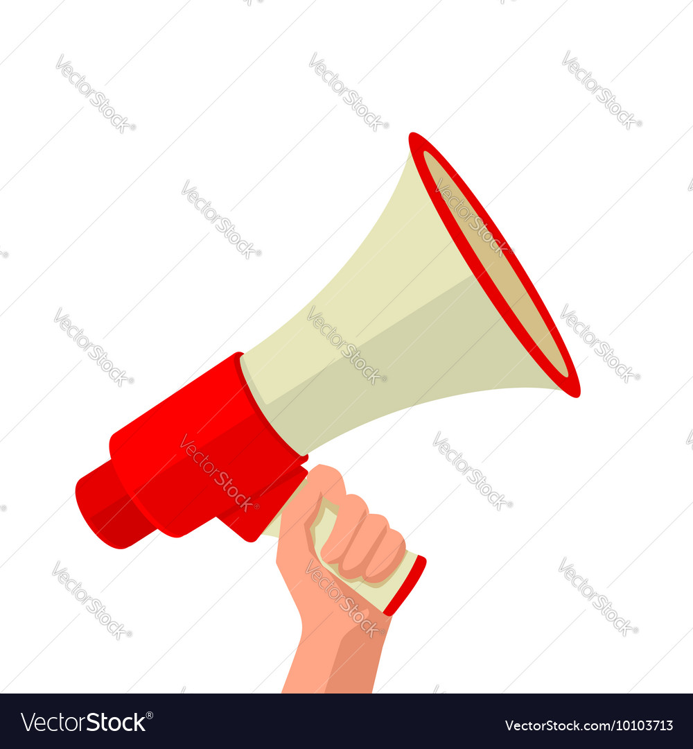 male hand holding loudspeaker royalty free vector image vectorstock
