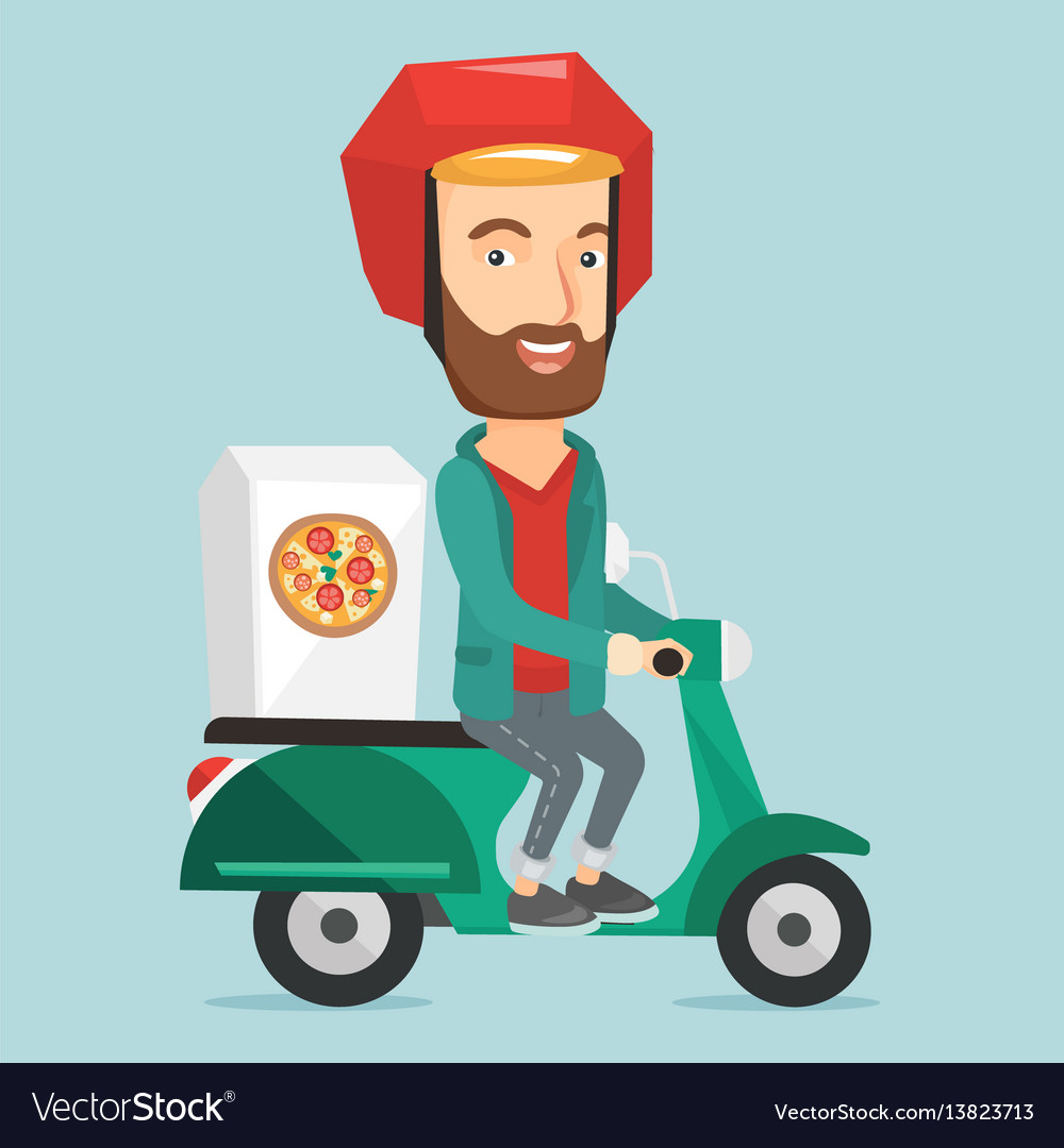 Man delivering pizza on scooter