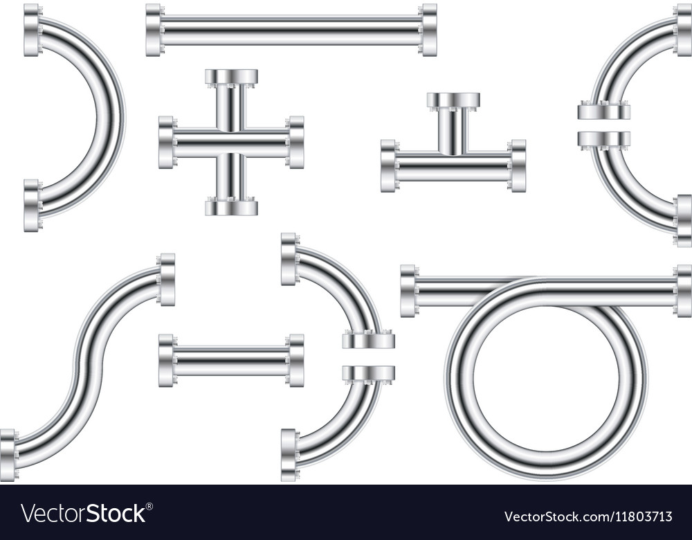 Metal chrome pipes vector image