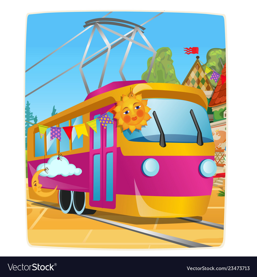 Poster with festively decorated tram car