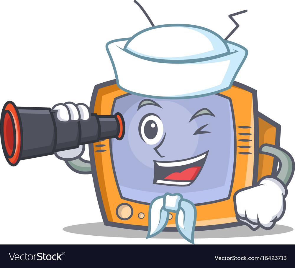 Sailor tv character cartoon object with binocular