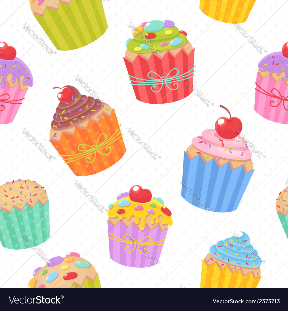 Seamless pattern with delicious muffins