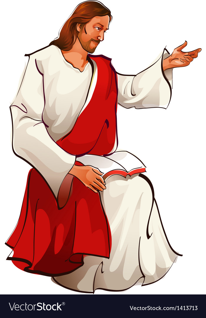 Side view of Jesus Christ sitting